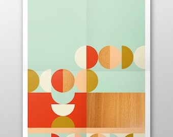 Popsicle //  Love your walls by Fossdesign //  Instant Download Poster A3 // aqua mid-century pattern