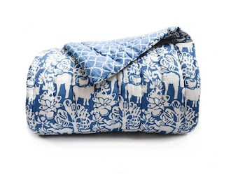 Indigo quilt Blue and white quilt Cotton coverlet Block Printed quilt indian quilt decor housewares, home living, bedspread-  baagh