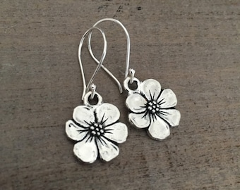 Apple Blossom Earrings, Sterling Silver Ear Wires, Flower Earrings