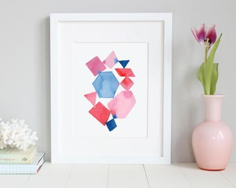 Pink and Blue Wall Art. Watercolor Geometric Abstract Art. Abstract Art. Watercolor. Art Print.