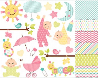 Clipart Combo - New Baby Girl - Vector Clipart / Instant Download