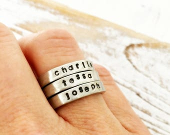 Personalized ring. Skinny stacking name ring for Mothers Day - pewter - name date word, custom, band, gift for mom, for her, hammered