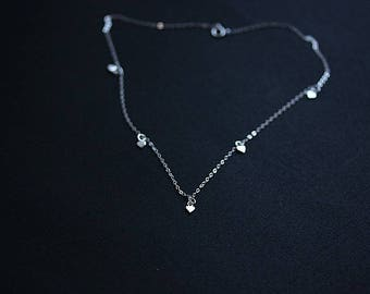 Super Tiny Heart Choker Necklace - Tiny Heart Charm Necklace - Tiny Heart Choker Necklace - Silver Heart Necklace - Delicate Necklace