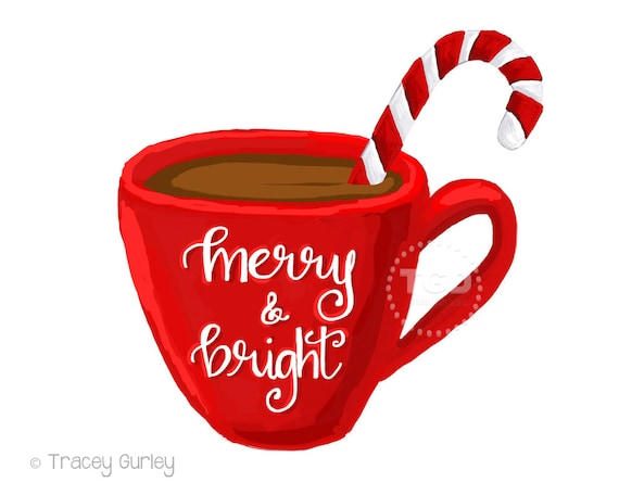 merry and bright hot cocoa clipart coffee cup clipart calligraphy rh etsystudio com cute clip art coffee cup cute clip art coffee cup