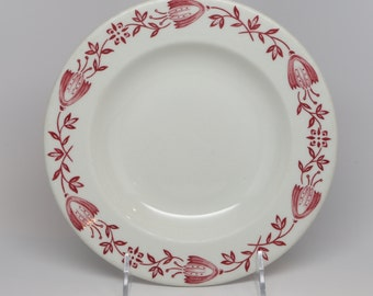 "1950's Shenango China New Castle, PA, Restaurant Ware Rimmed Soup, White, Red Floral Design on Boarder, 8"" Top diameter by 1"" High"