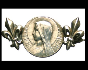Antique Silver Brooch of Holy Virgin Mary Religious Medal with Fleur de Lis