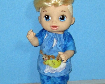 Baby Alive Snackin Luke ,Baby Alive Sweet Spoonfuls, Blue Bunny on a Cloud Pajama Set, Boy Doll Clothes, 12 13 inch Doll Clothes, Outfit