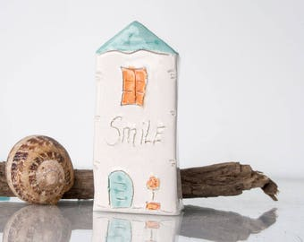 ALWAYS WEAR A SMILE...My little Clay House - Handmade miniature ceramics house