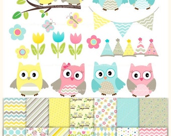 ON SALE Owls clip art,Owls papers,baby owl Birthday clip art,Digital Papers,clip art,combo MS 11,cards,scrapbook,chevron,polka dots,Instant
