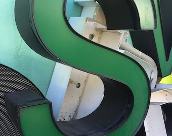 VINTAGE DECOR...large green used marquee channel aluminum letters ~ wall hanging ~ steampunk,wedding initial,office supplies
