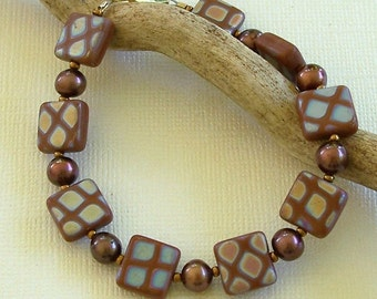Brown Iridescent Czech Glass Squares with Brown Freshwater Pearls Bracelet by Carol Wilson of Je t'adorn