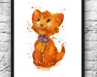 Oliver Art Print, Oliver and Company Watercolor Art, Kids Room Decor, Wall Art, Movie Poster, Nursery Decor, Wall Art, Home Decor - 312