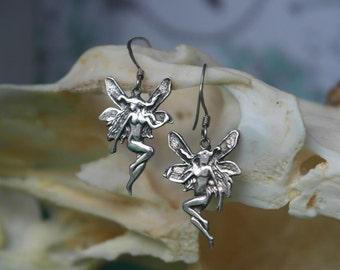 vintage Garden Rose Fairy Queen Sterling Silver Earrings