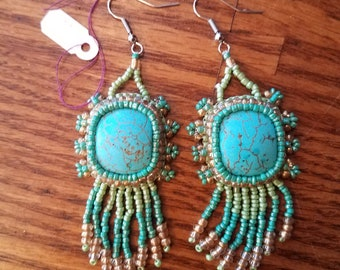 Sea and Sand Bead Embroidery Earrings