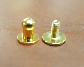 10 Button Studs Small Brass