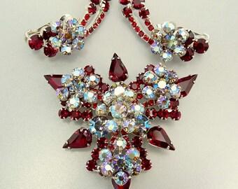 Vintage Juliana Red Rhinestone Brooch and Earrings