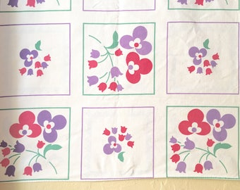 Vintage Linen Tablecloth Square Purple and Dark Pink Flowers White Green Square Table Cloth