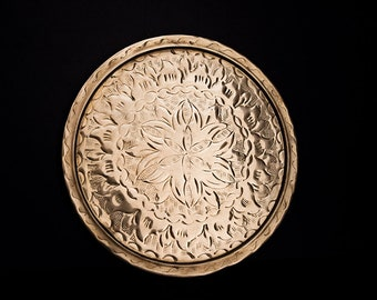 Vintage Copper Serving Tray with traditional Middle Eastern Floral Design