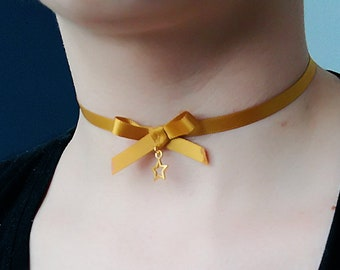 Gold Star knot Ribbon Choker necklace