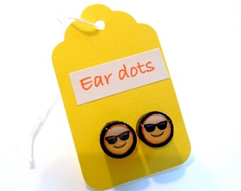 Emoji Studs,Ear Dots, Earrings,Painted little Wood Dots,Plug like,Pop culture