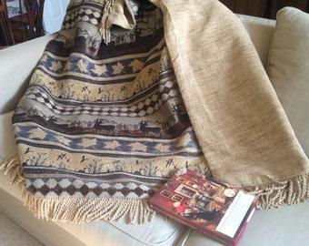 Rustic Throw Blanket, Mountain Cabin, Mountain Theme, Wild Game, Deer, Elk, Folk Art, Fathers Day Gift, Man Cave Gift, Rocky Mountain Throw