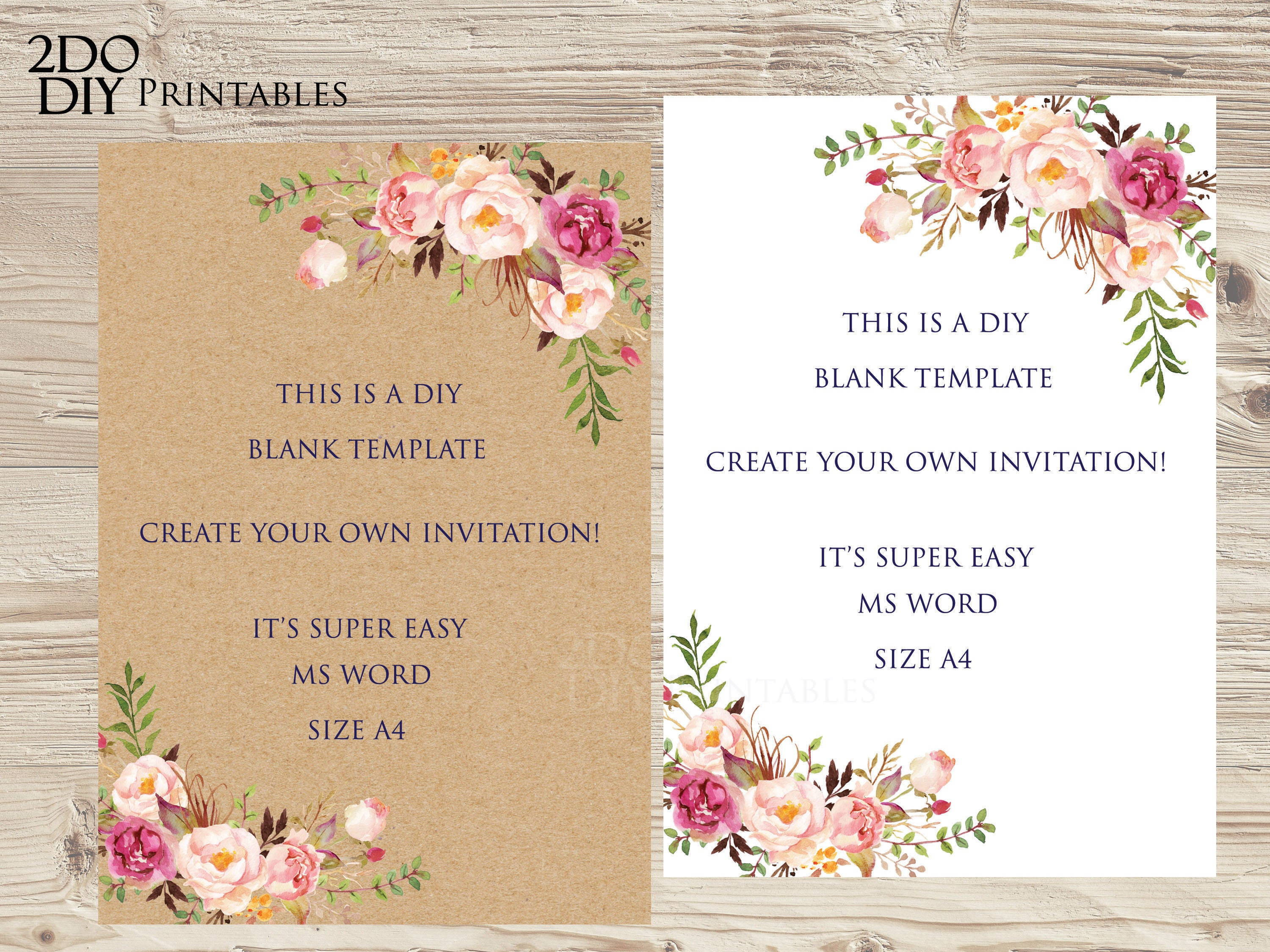 Floral Edit Yourself Invitation/ MS Word /Size A4/DIY Floral