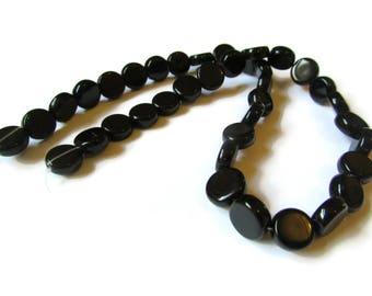 36 10mm to 11mm Jet Black Beads Crystal Coin Beads Flat Round Beads Full Strand Jewelry Making Beading Supplies