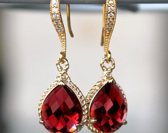 Ruby Red Teardrop Crystals Set in Gold with Crystal Detailed French Earrings