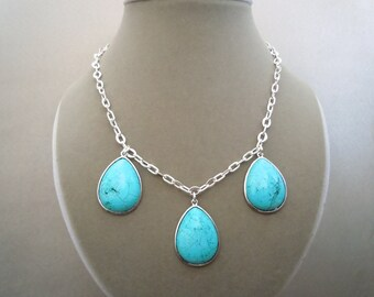 Aegean Sea -- One of a Kind -- Turquoise Drop pendant necklace