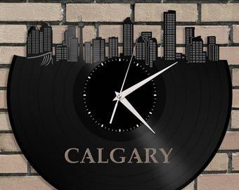 Calgary Alberta Canada Clock, Vinyl Wall Deco Clock, Unique Gift Ideas, Repurposed Record Art, Custom Man Cave Ideas, Vinyl Wall Clock