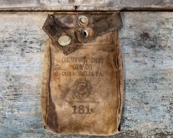 Bank Bag Money Bag Coin Bag Vault Vintage Bank Bag Coraopolis Trust Co. Pennsylvania