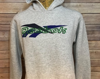 Vintage Reebok Spell Out Logo Hooded Sweater (S)