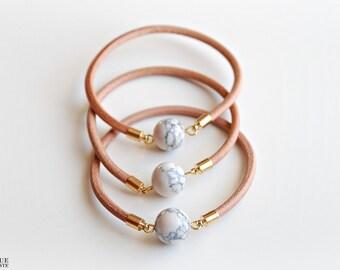 Leather bangle - Marble (howlite) stone bracelet