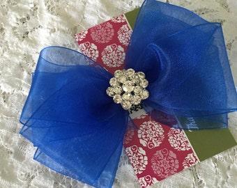 Royal Blue Organza Hair Bow with Rhinestone Center, Sparkle Flower Girl Hair Bow, Baby Hair Bow, Cobalt Blue Hair Bow, Pageant Hair bow