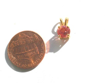 Vintage Natural 6mm Round Pink Tourmaline Gemstone 14K Yellow Gold Pendant Faceted Reddish-Pink Jewelry Hand-Made October Birthstone