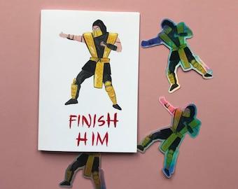 Finish Him - Mortal Kombat scorpion blank greetings card by fernandesmakes