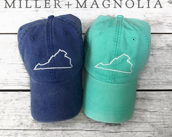 State Outline Cap | Virginia | ANY STATE -  Monogram Ball Cap - Monogram Cap - Monogram Hat - Monogrammed Cap