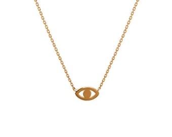 MOTHERS DAY SALE 14k gold mini evil eye necklace, gold evil eye necklace