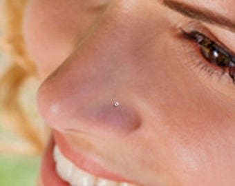 Teeny Tiny 1mm CZ Sterling Silver Nose Stud, Nose Ring, Silver Nose Stud, Sterling Nose Stud, 1mm Nose Stud, Tiny Nose Ring, 1mm Nose Stud.