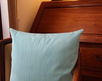 Light Blue Silk Pillow Cover