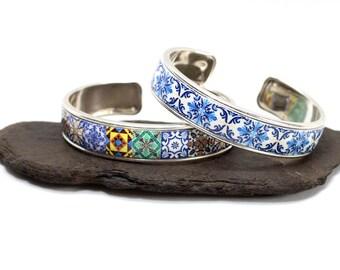 Portuguese tile bracelet, cuff bracelet, bangle bracelet, azulejo, portuguese jewelry, colorful bracelet, anniversary gifts for women