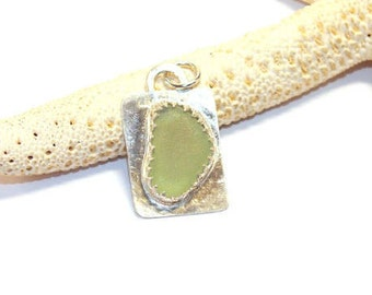 Sea Glass Pendant, Sterling Sea Glass Jewelry,  Seafoam Green Necklace,  Lake Erie Beach Glass, Mothers Day Gift for Mom