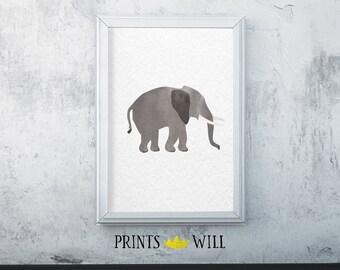 Elephant, Watercolor Elephant, Safari Nursery, Safari Print, Safari Decor, Printable Elephant, Elephant Art, Nursery Decor, Nursery Wall Art