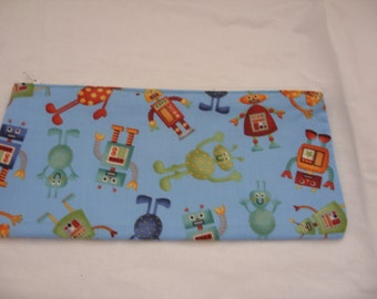 Robot and aliens pencil case