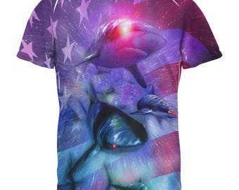 4th of July Patriotic American Galaxy Laser Sharks All Over Mens T Shirt