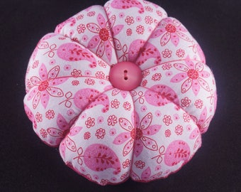 Pretty in Pink Flower Pincushion, Flower and Paisley Pincushion, Round Fabric Pincushion with decorative pins