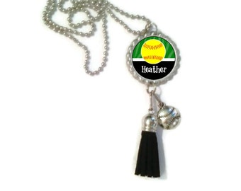 1 Personalized Forest Green Softball Bottlecap Tassel Necklace, 16 Color Choices softball gifts softball team softball team gifts, necklaces
