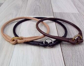 Premium Round Leather Dog TAG COLLAR
