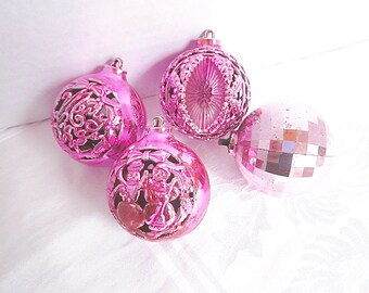 Vintage Christmas Pink Ornaments 1950s Mid Century Decorations Vintage Plastic Group of 4