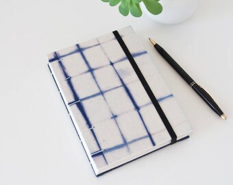 Journal Diary - Unlined Journal for Men - Coptic Stitch with Shibori Fabric Cover